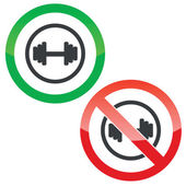 Barbell permission signs — Stock Vector