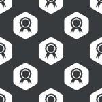 Black hexagon certificate seal pattern — Stock Vector #79964654