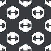 Black hexagon barbell pattern — Stock Vector