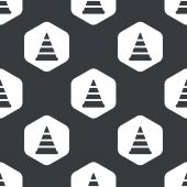 Black hexagon traffic cone pattern — Stock Vector