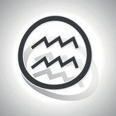 Aquarius sign sticker, curved — Stock Vector