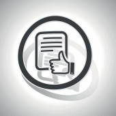 Etiqueta engomada del signo buen documento, curvada — Vector de stock