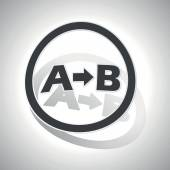 A-B logic sign sticker, curved — Stock Vector