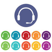 Headset icons colored set — Stock Vector