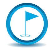 Golf flagstick icon, blue, 3D — Stock Vector