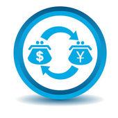 Dollar-yen trade icon, blue, 3D — Stock Vector