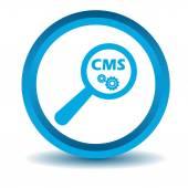 CMS zoek pictogram, blauw, 3d — Stockvector