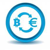 Bitcoin-euro exchange icon, blue, 3D — Stock Vector