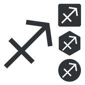 Sagittarius icon set, monochrome — Stock Vector