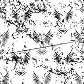 Flying bird pattern, grunge, monochrome — Stock Vector