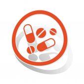 Medicine sign sticker, orange — Stock Vector
