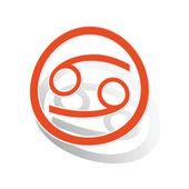 Cancer sign sticker, orange — Stock Vector