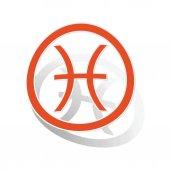 Pisces sign sticker, orange — Stock Vector