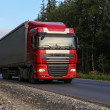 Truck with trailer goes on the highway — Stock Photo #52566853