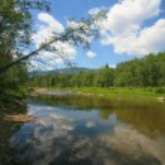 Landscape river mountain wood sky — Stock Photo #66621897