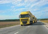 Escort of yellow trucks — Stock Photo