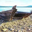 Wooden boats on bank of lake — Stock Photo #75784285