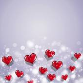 Red Hearts Valentine Holiday Card — Stock Photo