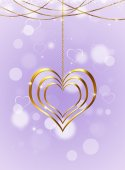 Golden Heart On Bright Background — Stock Photo
