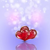 Two Hearts Bright Holiday Background — Стоковое фото