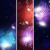 Multicolor Music Notes Banners — Stockfoto