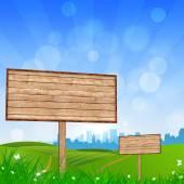 Wood Bigboard in the Nature — Stock Photo
