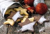 Christmas gingerbread star shape cookies — Stock Photo