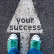 Green shoes on your success sign — Stock Photo #52891631