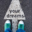 Green shoes on your dreams sign — Stock Photo #52899899