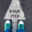 Green shoes on your risk sign — Stock Photo #52899991