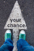Green shoes on your chance sign — Stock Photo