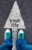 Green shoes on your life sign — Stock Photo
