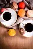 Coffee and macaroons — Stok fotoğraf
