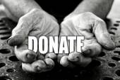 Donate in the old female hands — Stock Photo