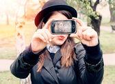 hipster stylish woman selfi — Stock Photo