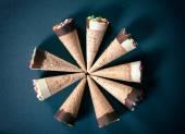 Ice creams in cornet — Stock Photo