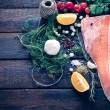 Raw salmon and large group of ingredients — Stock Photo #62547651