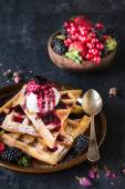 Sweet waffles and ice cream — Stock Photo