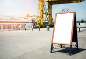 Blank billboard on the side walk — Stock Photo