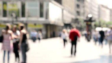 Blurred people on street — Stock Video