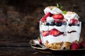 Dessert with biscuits,berry fruit — Stock fotografie