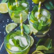 Cold soda water with lime and herbs in glass — Stock Photo #74245129