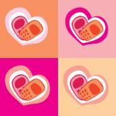 Phone heart — Stock Vector