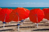 Umbrellas on Sandy Beach — Stock Photo