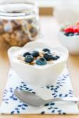 Zdrowe śniadanie z muesli, jogurt i owoce — Zdjęcie stockowe