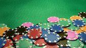 Casino chips show hand — Stock Photo
