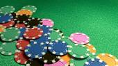 Many of casino chips green table — Stock Photo