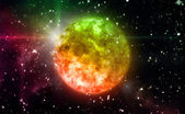 Color orange planet in space — Stock Photo