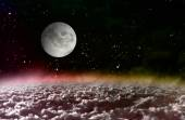 Moon light in space red planet — Stock Photo