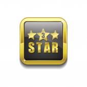 3 Star Gold Vector Icon Button — Stock Vector